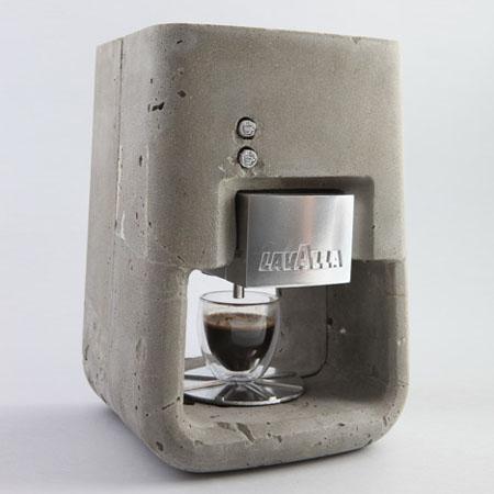 Современная кофеварка эспрессо из бетона