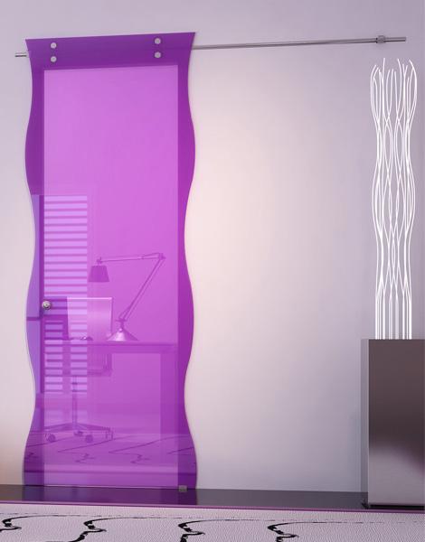 Прозрачная межкомнатная дверь из цветного стекла