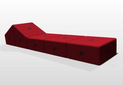 Кушетка-диван собранный из мобильных блоков