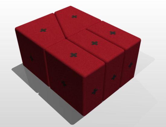Легко трансформируемая мебель из прямоугольных подушек