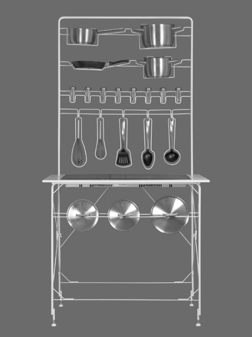 Разборная кухня на основе проволочного каркаса