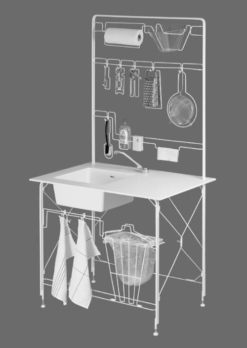 Передвижная каркасная кухня. Мобильная мебель.
