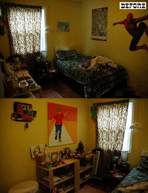 Детская комната до ремонта, невзрачные желтые стены, старая неудобная мебель