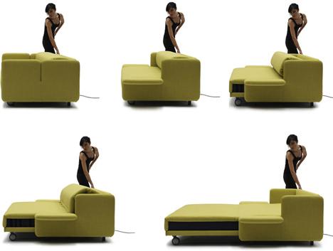 Раздвижной диван зелено-болотного цвета