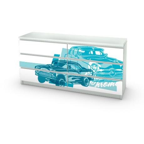 Стикер с ретро автомобилями для мебели