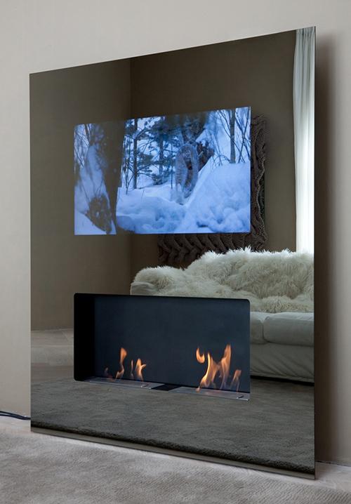 Панель со встроенным телевизором и мини-камином на этаноле