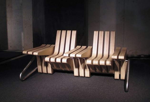 Скамейка трансформер из отдельных деревянных элементов