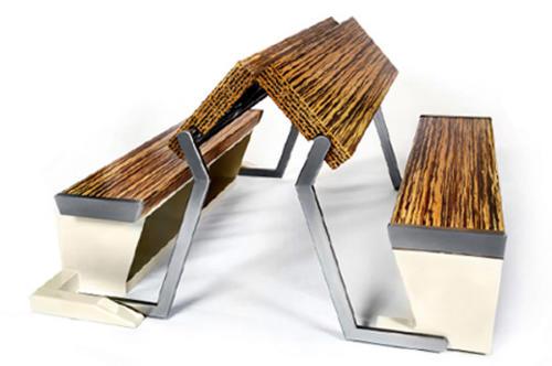 Складной кухонный стол со скамейками