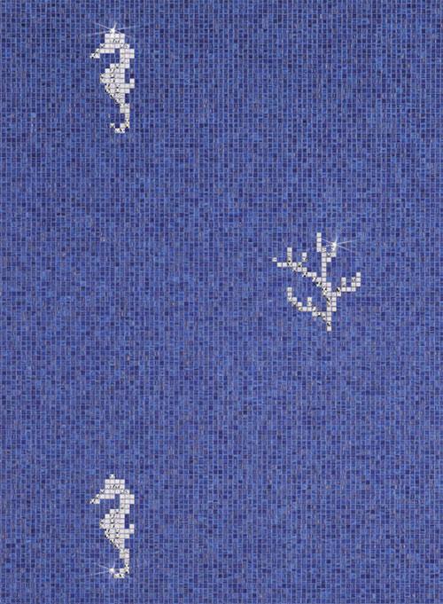 Мозаичная плитка для ванной голубого цвета