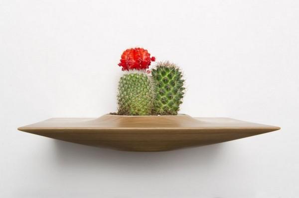 Горшки для растений в виде деревянной полки