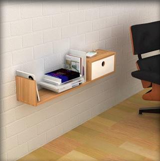 Легкая полка для книг с выдвижным ящиком
