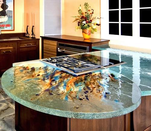 Кухонная столешница из прозрачного стекла