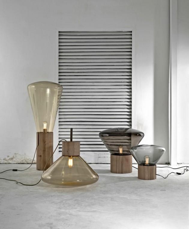 Лампы и светильники оригинальной формы из дымчатого стекла