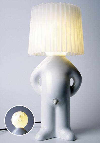 Настольная лампа -- фигурка амурчика с выключателем на интересном месте