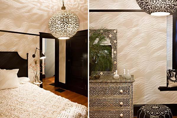 Спальня в кремовых тонах с темной мебелью