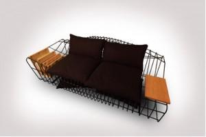 Модульный диван на черной металлической раме