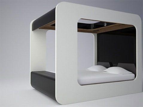 Современная кровать с балдахином с закругленными кроями