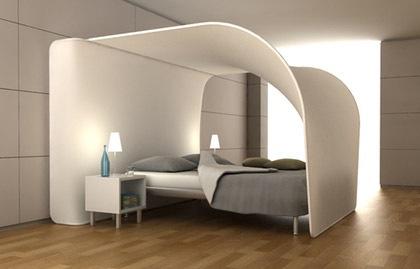 Современная кровать с балдахином в стиле хай-тек