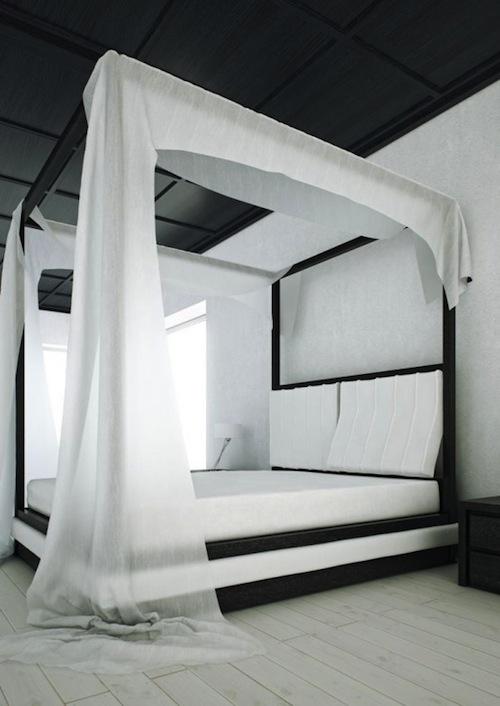 Кровать с балдахином с черно-белой гамме