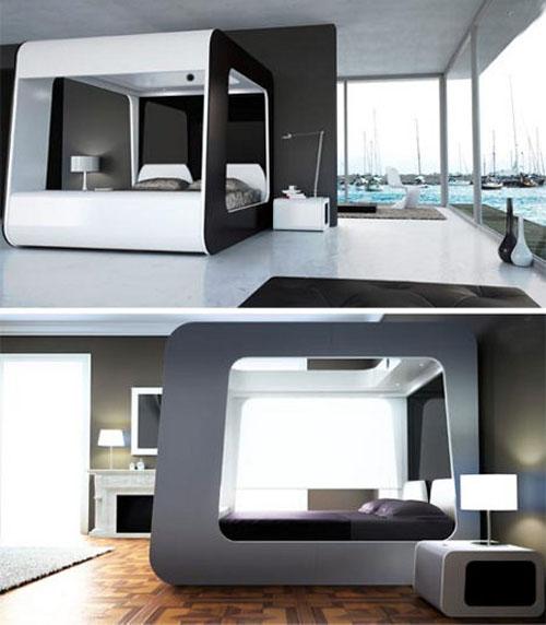 Современная кровать со стенками и верхом