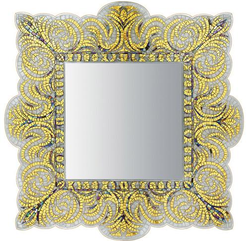 Позолоченная рама для зеркала с мозаикой