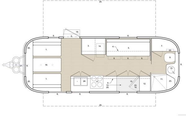 Планировка передвижного дома-трейлера