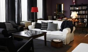 Черный цвет в интерьере гостиной