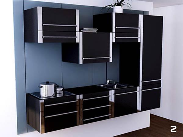 Дизайн маленькой кухни из сдвигающихся модулей