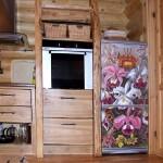 Наклейка на холодилдьник, цветочный дизайн