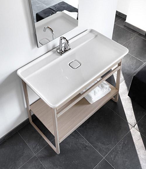 Прямоугольные вытянутые раковины для ванной с низкими краями