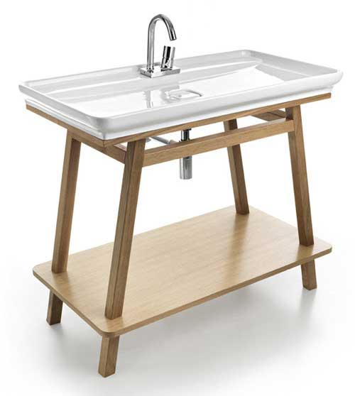 Тонкая плоская раковина для ванной прямоугольной формы