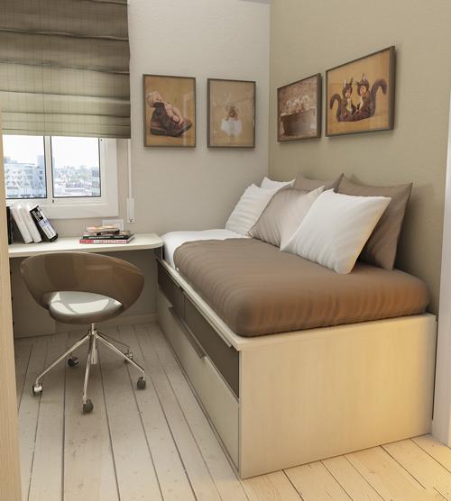 Высокая кровать с объемными ящиками для хранения под лежаком