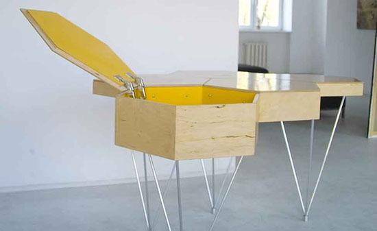 Модульный компьютерный стол из отдельных шестигранников