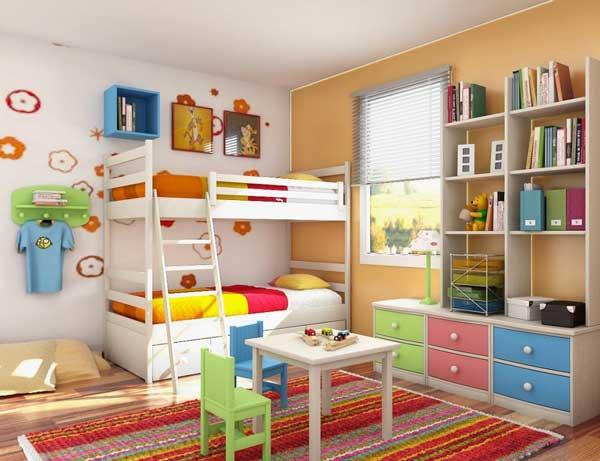 Пример использования двухъяусной кровати в интерьере детской комнаты