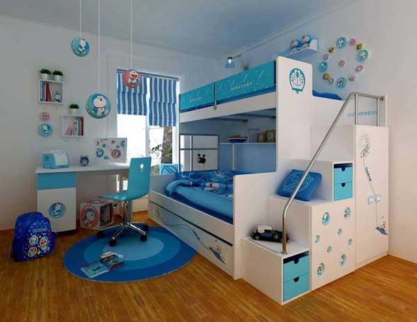 Детская кровать в два яруса белого цвета