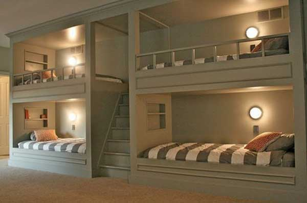 Двухъярусные стационарные кровати на 4 спальных места