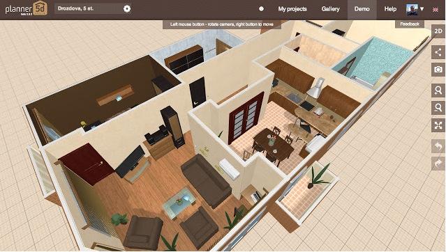 Пример дизайна комнат с помощью компьютерного планировщика