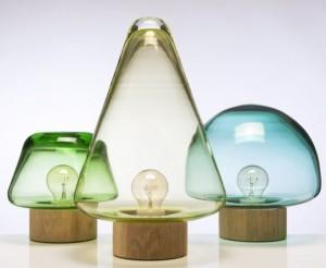 Лампы с плафонами из цветного стекла