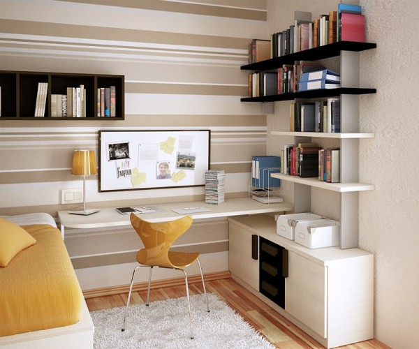 Пример обустройства маленькой комнаты в многофункциональное рабочее и жилое пространство