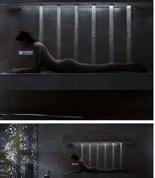 Немецкий горизхонтальный душ для большой ванной комнаты