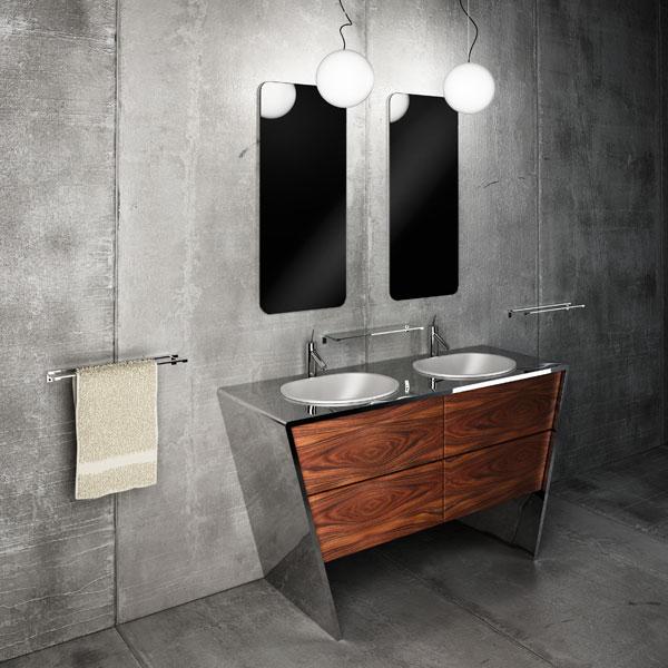 Итальянский дизайн, мебель для ванной из металла