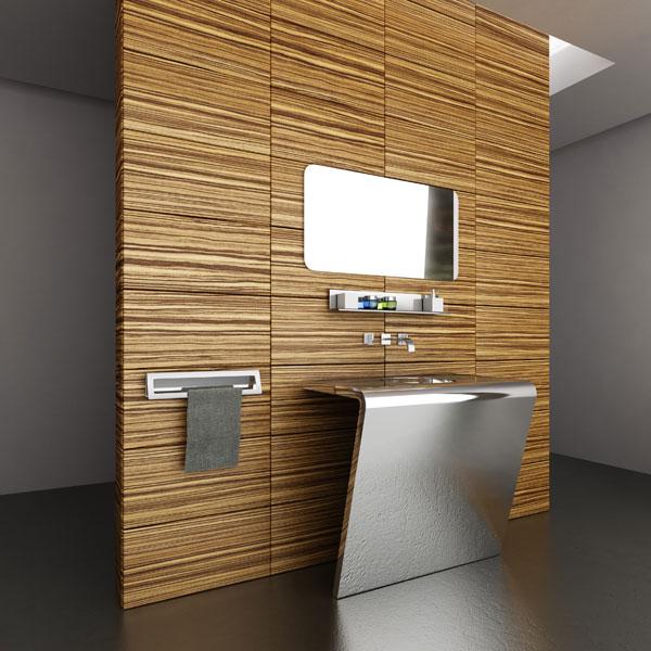 Дизайн ванной в стиле хай-тек, стекло полированная нержавейка