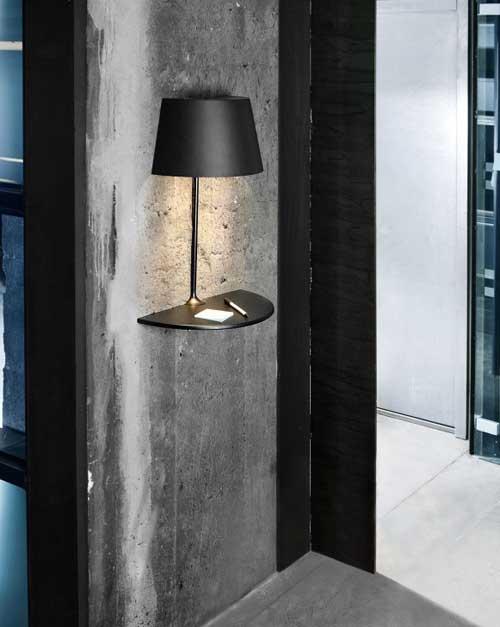 Черная лампа для прихожей с полочкой для мелочи