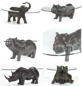 Журнальные столики кофейные с бронзовыми фигурками животных