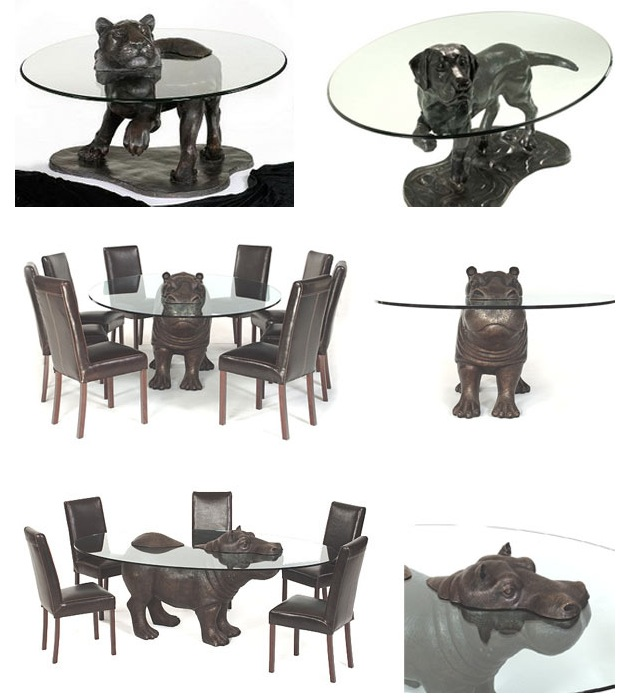 Фигурки животных из бронзы для дома как основание для столов