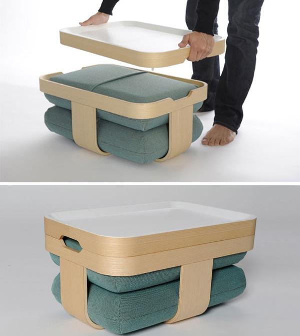 Многофункциональная мебель; низкий столик и пуфики