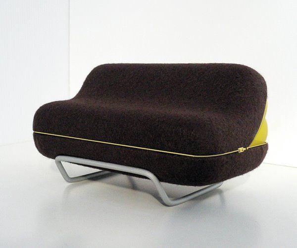 Мягкий диван с молнией