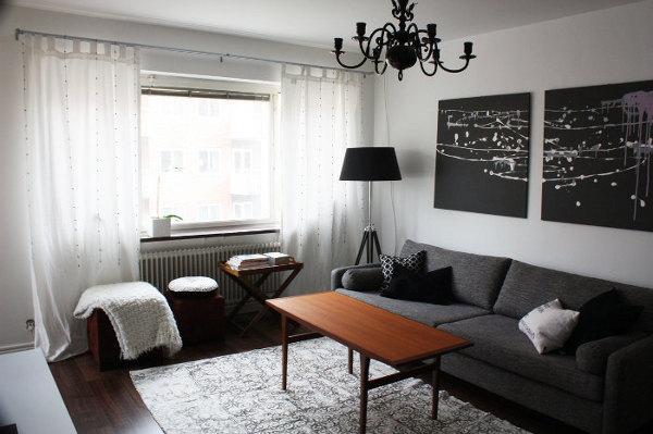 Дизайн зала в черно-белых тонах