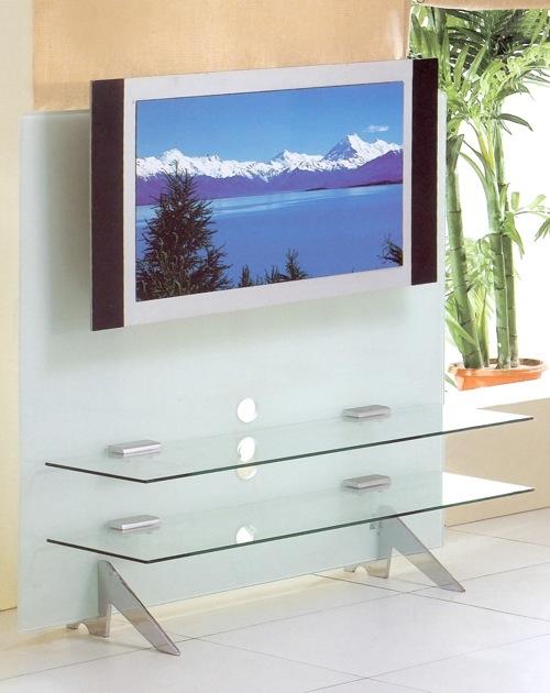 Современная тумба под телевизор со стеклянными полками и матовой панелью