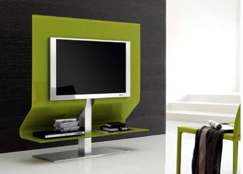 Оригинальная тумба под телевизор в современном интерьере